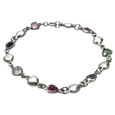 Sterling Silver Heart Bracelet With Sterling Clear Blue & Pink Crystal Hearts