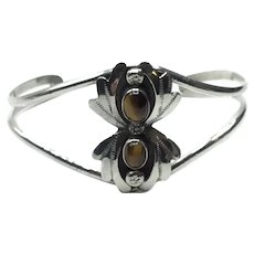 Sterling Silver Banded Brown Agate Cuff Bracelet