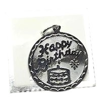 Vintage Sterling Silver Happy Birthday Disk Charm