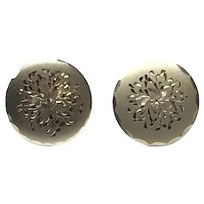12K Gold Filled Floral Etched Screw Back Earrings