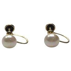 10K Gold Cultured Pearl Screw Back Earrings