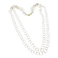 Gold Tone Double Large Link Chain Necklace