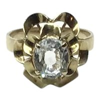 14K Gold Light Aquamarine Fluted  Ring Size 7 1/2