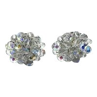 Silver Tone Germany Clear Crystal Clip Earrings