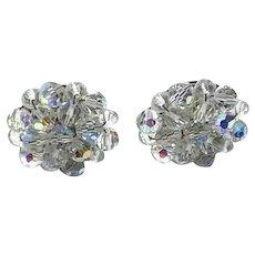 Silver Tone Germany Clear Crystal Clip Earrings