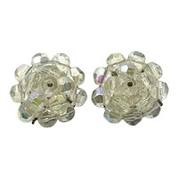 Gold Tone Made In Western Germany Clear Crystal Clip  Earrings