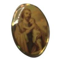 Gold Tone Religious Lapel Pin NOS