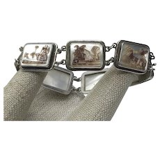 800 Silver Hand Carved Greek Chariot MOP Cameo Bracelet