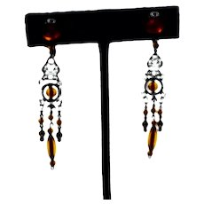 Gold Tone Handmade Baltic Amber Dangle Earrings