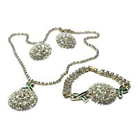 Costume Gold Tone Clear & Green Rhinestone Necklace Clip Earrings & Bracelet Set
