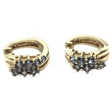 Vermeil Blue Topaz Hoop Earrings