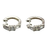 Sterling Silver Clear CZ Hoop Earrings