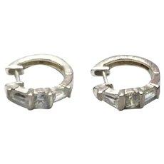 Sterling Silver Clear CZ Hoop Earrings