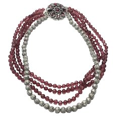 Silver Tone & Red Crystal Multi Bead Necklace