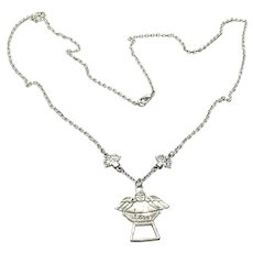 """Silver Tone Two Sided Angel """"LOVE"""" Pendant Necklace"""