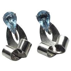 Vintage Sterling Silver Blue Topaz  Drop Earrings