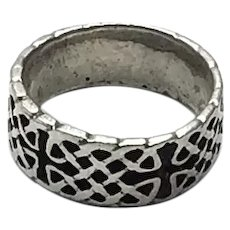 Sterling Silver Celtic Wedding Band Size 9