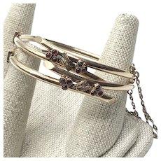 10K Gold Garnet Brides Wedding Bangle Bracelets