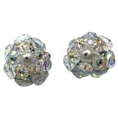 Silver Tone Vendome Clear Crystal Clip Earrings