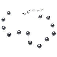 Faux  Pearl Mono Filament Necklace