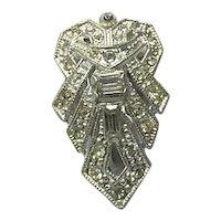 Art Deco Silver Tone Rhinestone Dress Clip