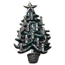 Silver Tone Enameled Rhinestone Christmas Tree Brooch NOS