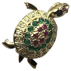 Danecraft 24K On Sterling Emerald Ruby Sapphire Turtle Brooch Pendant