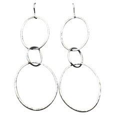 Sterling Silver Modernist Designer Trio Oval Dangle Earrings