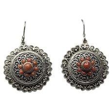 Art Deco Sterling Silver Coral Cluster Filigree Dangle Earrings