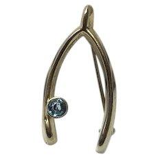 Gold Filled Blue Zircon Wishbone Brooch