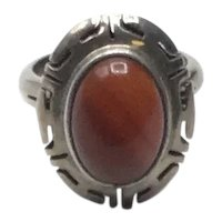 Mexican Sterling Silver Carnelian Ring Size 7
