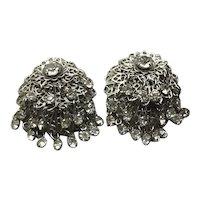 Silver Tone Clear Rhinestone Dangling Clip Earrings