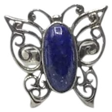 Sterling Silver Lapis Benham Butterfly Ring Size 5 1/4