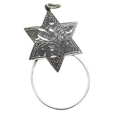 Early Sterling Silver Etched Star Charm Holder