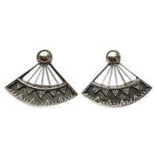 Siam Fan Shaped Sterling Enameled 18K Earrings