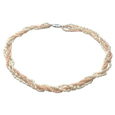 Sterling Twisted Rice & Angel Skin Coral Choker Necklace