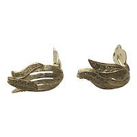 Gold Tone Rhinestone Clip Earrings