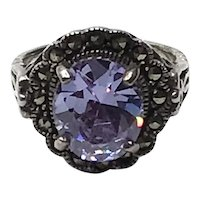 Sterling Silver Marcasite Alexandrite Paste Ring Size 8