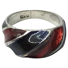 Sterling Silver Red & Navy  Blue Enameled Ring Size 4