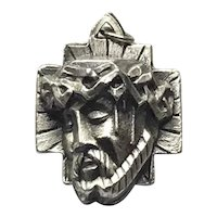 Three Dimensional Medal Jesus Christ With Crown Of Thorns Silver Tone