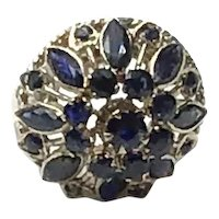 14K Yellow Gold Sapphire Dome Ring Size 6