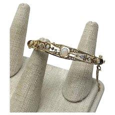 14K Yellow Gold Opal & Seed Pearl Hinged Bangle Bracelet
