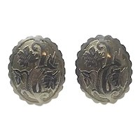 Silver Tone Floral Scroll Etched Clip Earrings