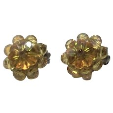 Yellow Faceted Crystal Beaded Clip  Earrings