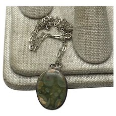 Sterling Silver Picasso Agate Pendant Necklace