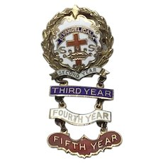 Little's System Cross & Crown Enameled Sunday School Five Year Medal Pin