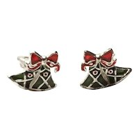 Silver Tone Enameled Christmas Bell Clip Earrings