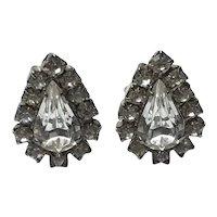 Silver Tone Clear Sparkling Rhinestone Clip Earrings