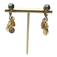 Vogue Gold Tone Topaz Colored Crystal Clip Dangle Earrings