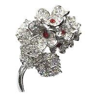 Silver Tone Rhinestone Floral Brooch